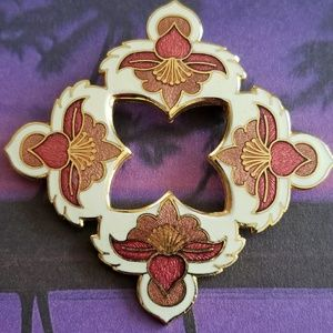 Vintage cloisonne orchid brooch gold tone pin